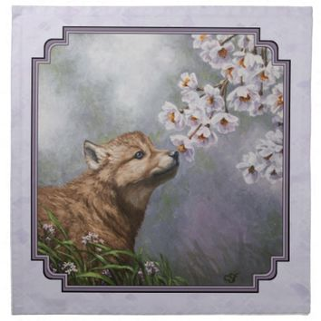 Wolf Pup and Flowers Printed Napkin