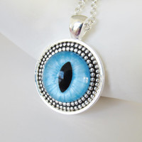 Pendant Necklace Cat Eye Hand Painted Turquoise made in USA