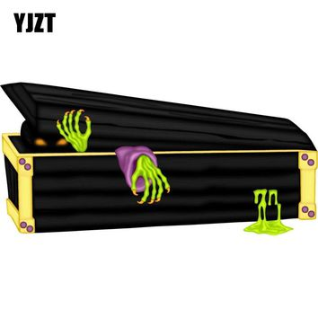YJZT 17.5x8.5cm Personality Halloween Spooky Kid Horror Coffin ZOMBIE Retro-reflective Car Stickers Decals C1-8096