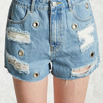 Distressed Grommet Denim Shorts