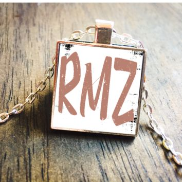 Rose Gold Monogram Initials Square Pendant Necklace