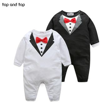New pure cotton Baby Clothing Bow tie design Baby Rompers Infantil babi boy jumpsuit Newborn Babies Rompers