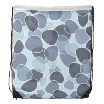 pretty blue abstract drawstring backpack