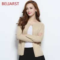 BELIARST 2017 Autumn and Winter Long-Sleeved Women's Cashmere Sweater Cashmere Sweater Small Buckle Pearl Buckle Solid Cardigan