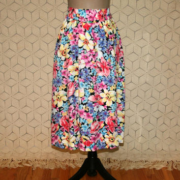 90s Floral Skirt High Waist Midi Wrap Skirt Spring Summer Full Skirt with Pockets Colorful Rayon Liz Claiborne 1990s Womens Vintage Clothing