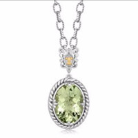Oval Green Amethyst Pendant Rhodium Plated Necklace in 18K Yellow Gold and Sterling Silver