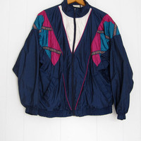 Vintage 80s Retro Active Windbreaker Large Petite Track Suit Jacket pants Women's
