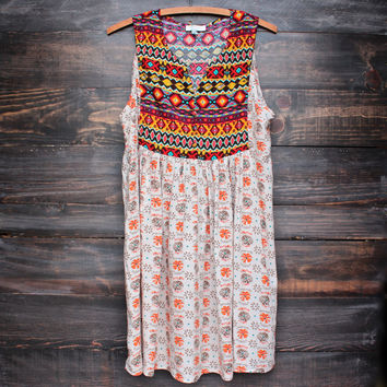 native sleeveless dress in sand