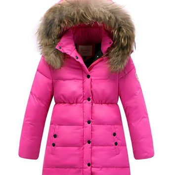 Roseate Girl's Quilted Puffer Coat Down Jacket with Faux Fur Hood