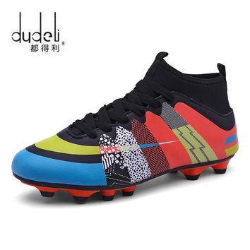 DUDELI Men Soccer Shoes Long Spikes Lawn Trainers Sport Cleat Football Shoes Non-Slip Men Sneakers Teenagers Zapatillas Deportiv