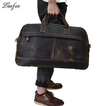 Men genuine leather travel bag Real leather travel Weekend bag large vintage crazy horse leather luggage bag Big Tote bag