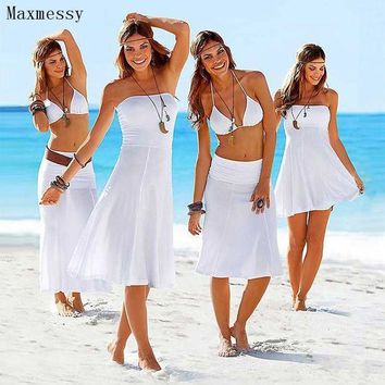 ICIK7N3 Maxmessy More Wear Beach Cover Up Bikini Swimwear Women Tube Top Beach Dress Swimming Cover Ups Bathing Suit Rip Curl MC246