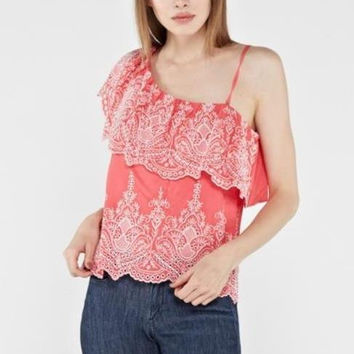 Coral Embroidered Ruffled One Shoulder Top
