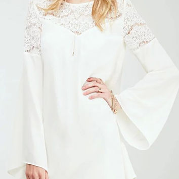 Bell Sleeves Crochet Lace Panel Chiffon Mini Dress