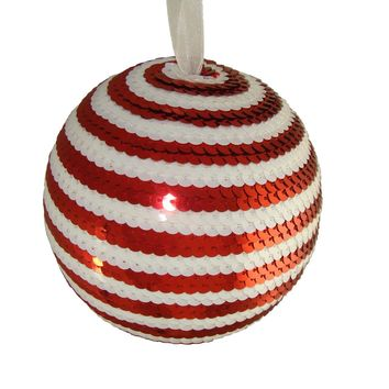 """5"""" Peppermint Twist Red & White Candy Cane Stripe Sequin Christmas Ball Ornament"""