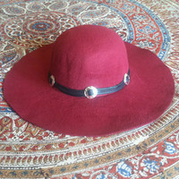 Stevie boho hat // wine // spirittribe, boho, hatband, concho, wide brim, floppy hat, fashion, hatband