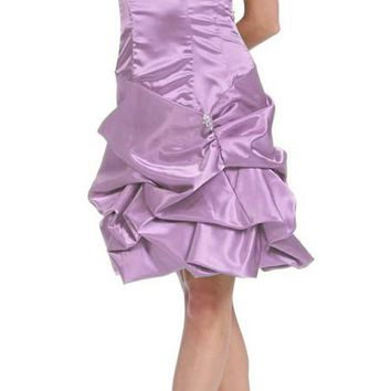 CLEARANCE - Lilac Cocktail Dress Ruched Skirt Bubble Satin Strapless Prom Gown (Size Large)
