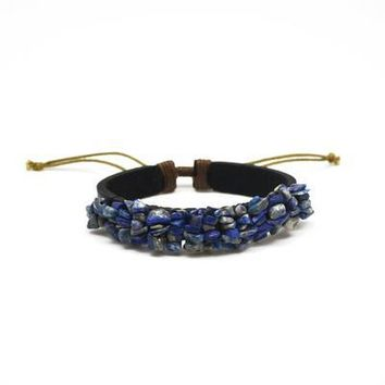 Leather Bracelet With Lapis Stone