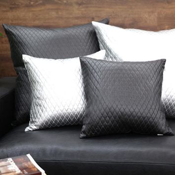 Simple Leather Cushion Solid Color with Rhombus Office/Sofa Throw Pillows