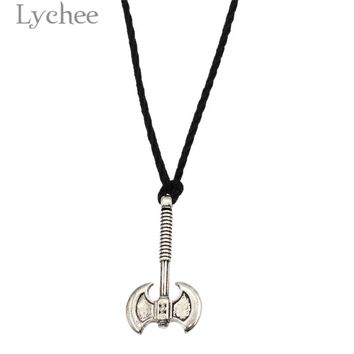 Lychee Punk Alloy Slavic Double Head Axe Pendant Necklace Rope Chain Necklace Jewelry for Men Women