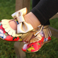 Floral and Bow Baby Moccasin Shoes | Flower Moccs