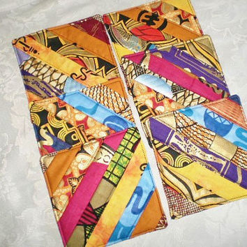 Mug Rugs/Coasters/Handmade Mini Quilts/Ethnic Genuine African Fabrics/One Of A Kind  Set/Hostess Thank You Gift/Housewarming Housewares Set