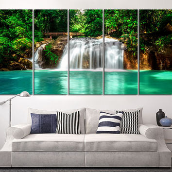 Large Canvas Art Waterfalls in Forest Canvas Prints  - Waterfalls and Lake Large Art Canvas Printing - Extra Large Canvas Wall Art Print