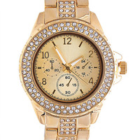 Rhinestone Gold Metal Watch | Wet Seal
