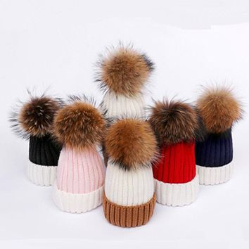 KNB045 Children baby knitted hat Winter boy girls patchwork real raccoon fur pom pom knit skullies beanies caps bonnet gorros