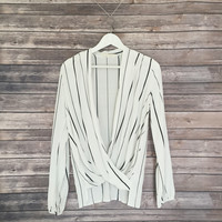 Maddie Verticle Stripe Cross Over Top