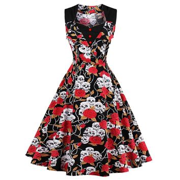 Retro Vintage Dress Polka Dot Patchwork  Sleeveless Rockabilly Swing Party Dress