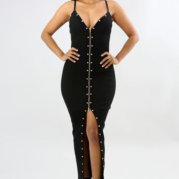 Stud Zipper Maxi Dress