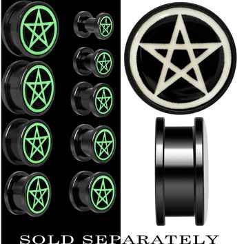Magic Pentagram Glow in the Dark Screw Fit Plug in Black Titanium