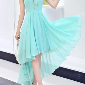 Green Draped Sashes Irregular High-low Elegant Bohemian Maxi Dress