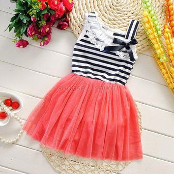 Summer Girl One Piece Princess Bow Dress Toddler Party Tulle Casual Sundress