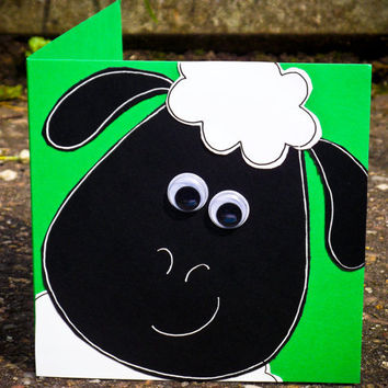 Cute Sheep Birthday Handmade Greeting Card