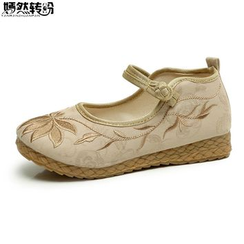Chinese Women Shoes Vintage Boho Cotton Linen Canvas Cloth Shoes National Soft Woven Round Toe Flat With Embroidered