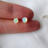Rough Opal and Sterling Silver Post Earrings - For Her; Graduation; Wedding Gift; Mother's Day; For Mom