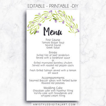 Wedding Menu, Printable Menu, Olive, DIY Menu Template, Menu Card, Menu Printable, Wedding, Custom Menu, DIY Wedding, Wedding Reception,PDF