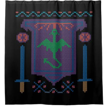 FireBreathing Dragon Ugly Christmas Sweater Shield Shower Curtain