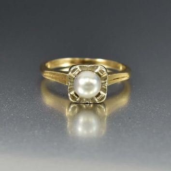Antique Art Deco 14K Gold Pearl Solitaire Ring