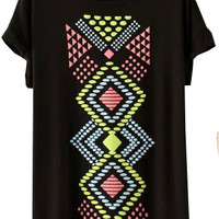 Black Colorful Geometric Printed T-Shirt
