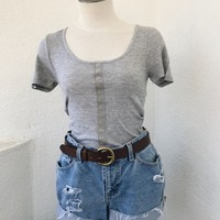 EMILY BUTTON FRONT TEE-  GREY