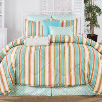 Martinique Bedding Set - Coral and Aqua