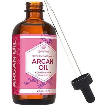 #1 Virgin Argan Oil by Leven Rose - Pure Cold Pressed, 100% Organic for Hair Growth, Skin Serum, Face, Nails, Eczema, Acne - Best Moroccan Argan - Natural Moisturizer Lotion for Dry Skincare - 4 Oz