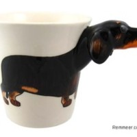 Dachshund Mug - 3D Black Tan Dachshund Ceramic Coffee Cup