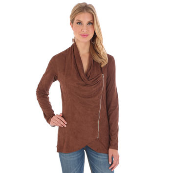 Wrangler Womens Nutmeg Draped Neckline Faux Suede Jacket