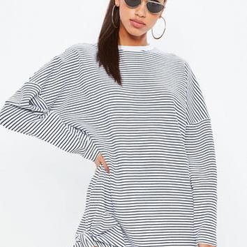 Missguided - White Oversized Stripe Sweatshirt Dress
