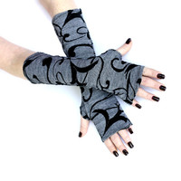 SALE Winter Flowers - Very Soft Black and White Fingerless Gloves , Arm Warmers , Gloves , Hand Warmers , Cuffs , Victoriian , Goth , Cotton