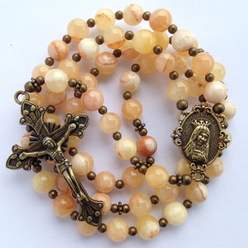 Italian Onyx Rosary, Catholic Gift, Italian Onyx Beads, Catholic Rosary, Immaculate Heart of Mary, Bronze Crucifix, Catholic Prayer Beads